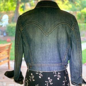 As New Elise Tahari silk lined denim jacket